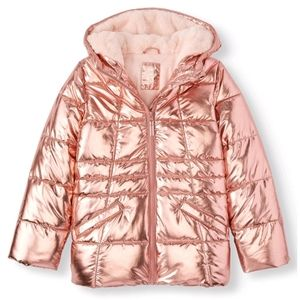Girls Metallic Pink Padded Coat